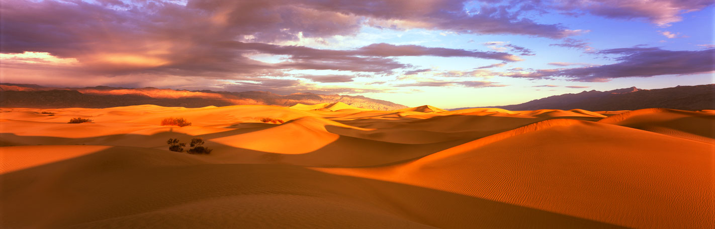 Panoramic Landscape Photography ~ Perfect Sunrise, Mesquite Flat Sand Dunes, Death Valley, National Park California