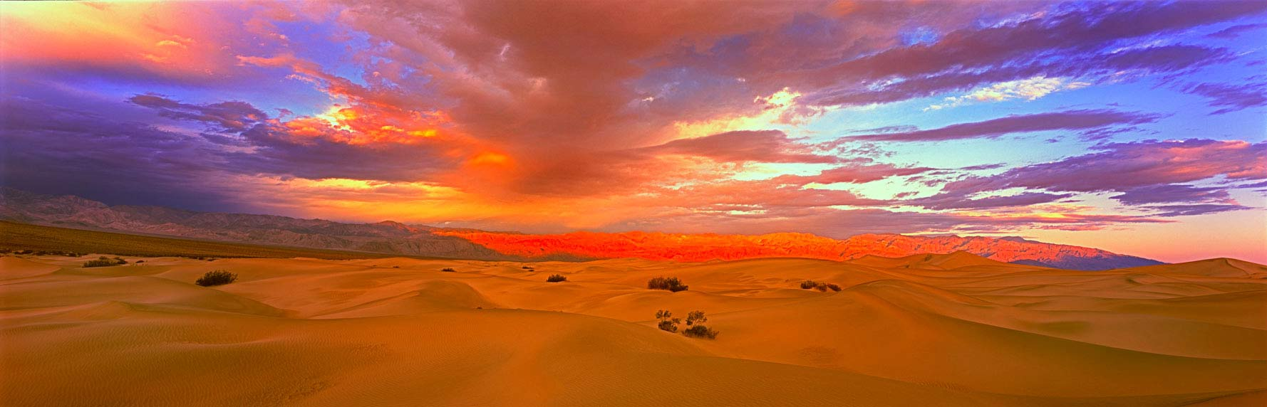 Panoramic Fine Art Landscape Photography First Golden Glow over Cottonwood Mountains, Death Valley National Park California