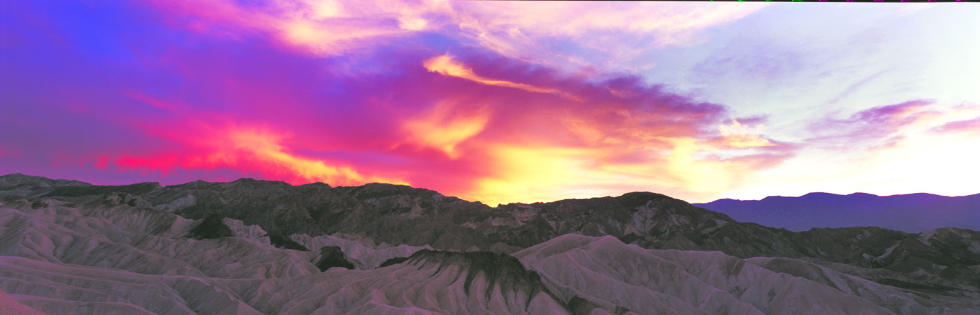 Panoramic Fine Art Photography ~ Panorama Landscape Photo Gallery Brilliant Sunset at Zabriskie Point, Death Valley National Park