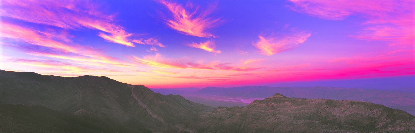 Panoramic Fine Art Photography ~ Panoramic Landscape Photo Gallery ~ Purple Sunset at Aguereberry Point, Death Valley National Park, California