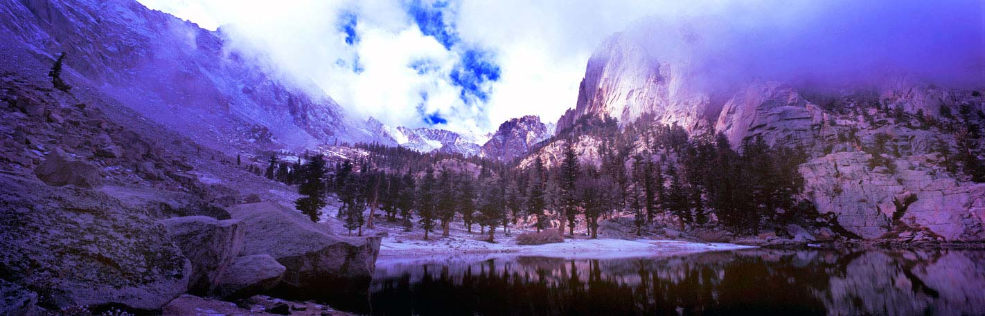 Panoramic Fine Art Photography ~ Panorama Landscape Photo Prints ~ Winter Storm at Lone Pine Lake, Sierra Nevada