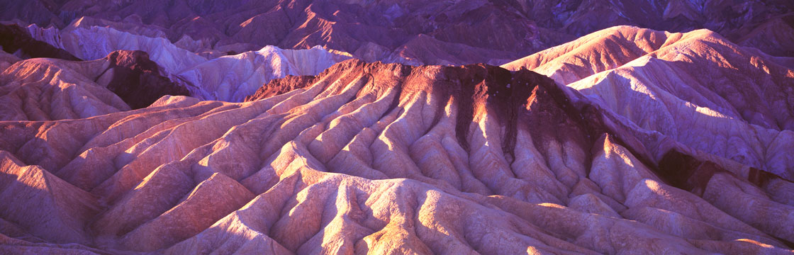 Panoramic Fine Art Photography ~ Panorama Landscape Photo Gallery Contrasting Shadows at Zabriskie Point, Death Valley